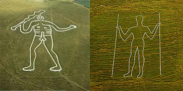 Images of The Long Man of Wilmington and the Cerne Giant.